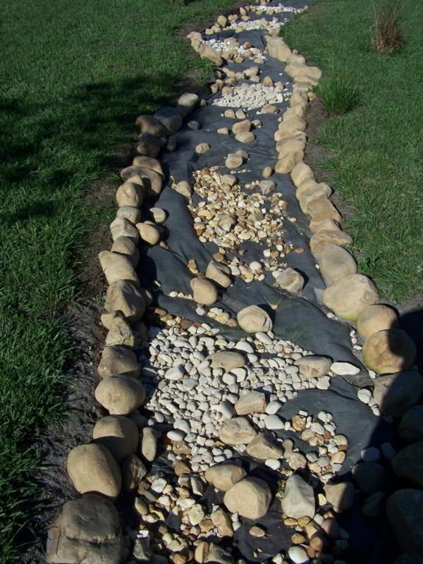 Rivière sèche à créer soi-même dans le jardin feutre géotextile