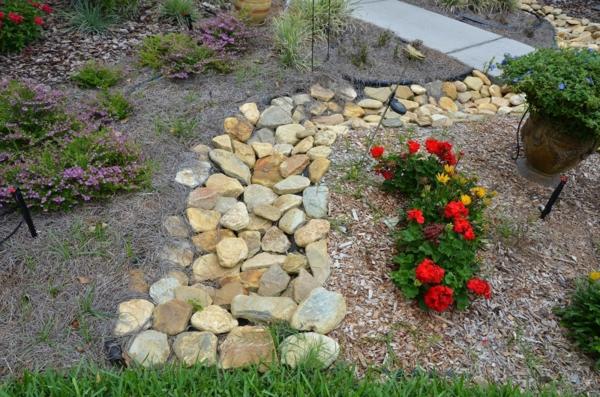 Rivière sèche à créer soi-même dans le jardin grosses pierres