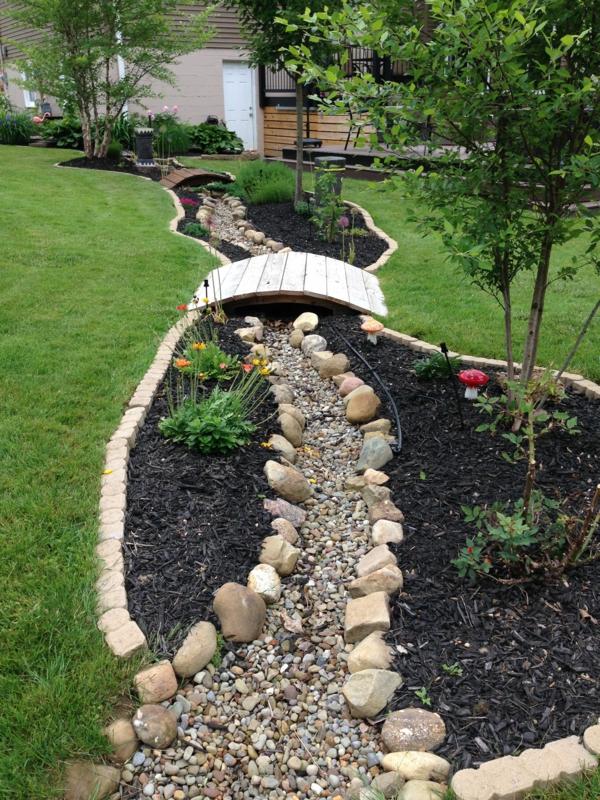 Rivière sèche à créer soi-même dans le jardin rochers galets