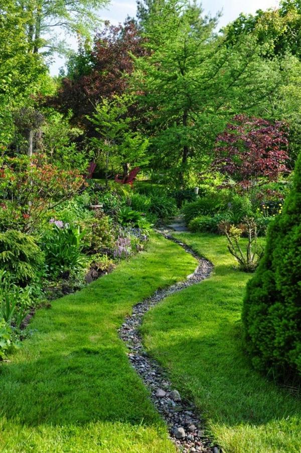 Rivière sèche à créer soi-même dans le jardin ruisseau étroit gravier