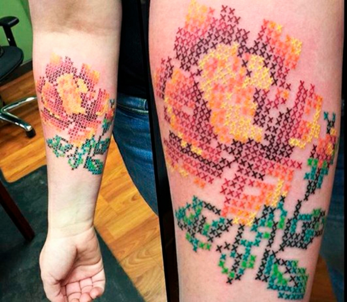 belle rose tatouage broderie