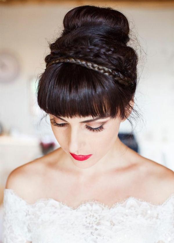 coiffure mariage tresse chignon haut tresses couronnes frange