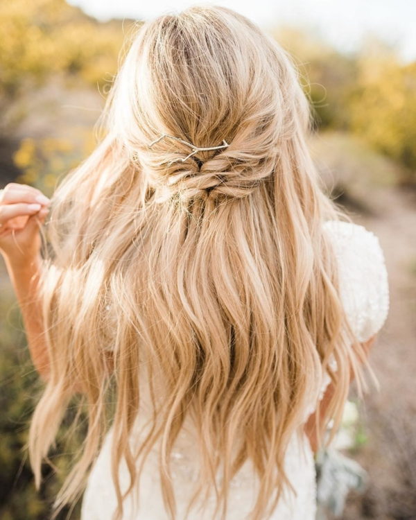 coiffure mariage tresse demi-couronne
