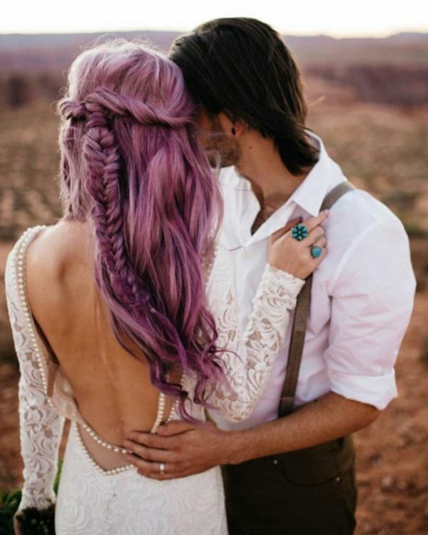 coiffure mariage tresse et mèches longues libres