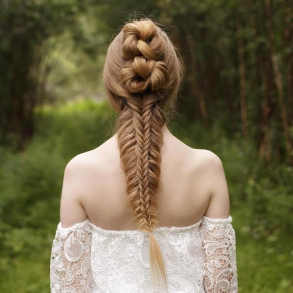 coiffure mariage tresse et noeuds