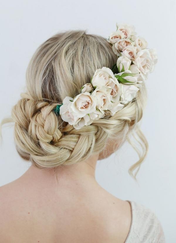 coiffure mariage tresse française couronne fleurs