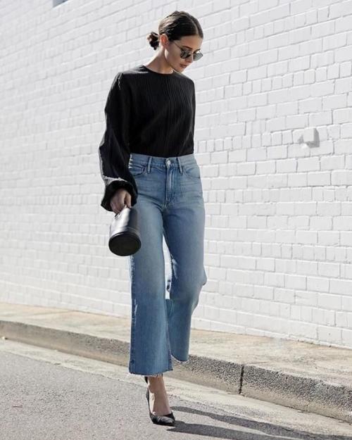 denim jeans élargi en bas