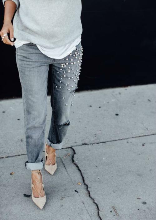 denim jeans aux perles