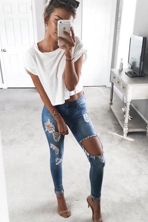 denim jeans déchiré au choix