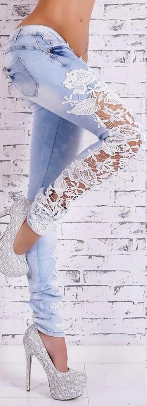 denim jeans dentelles devant