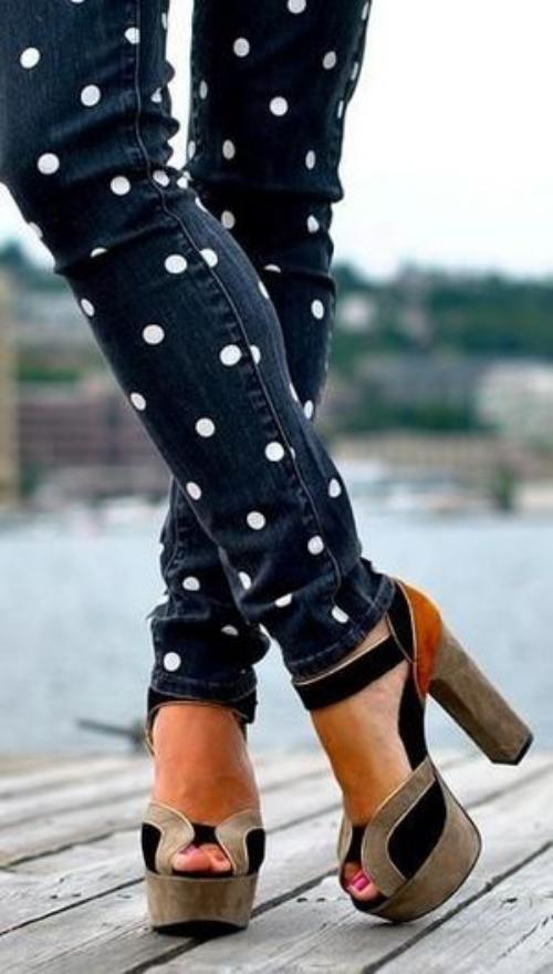denim jeans modèle à pois