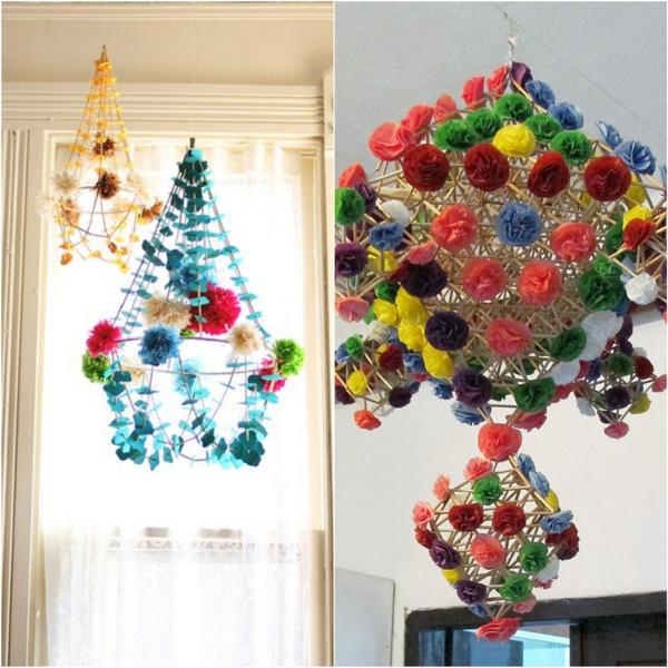 diy suspension pajaki pailles papier coloré