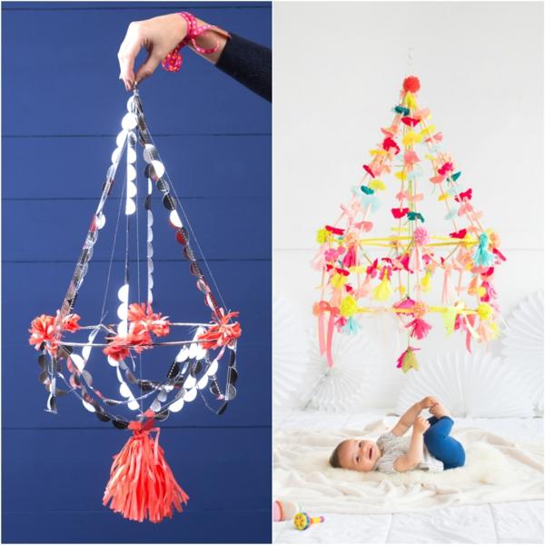 diy suspension papier coloré mobile bébé