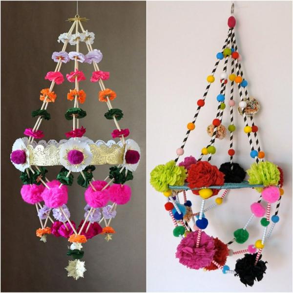 fabriquer suspension pajaki papier crépon perles pompons
