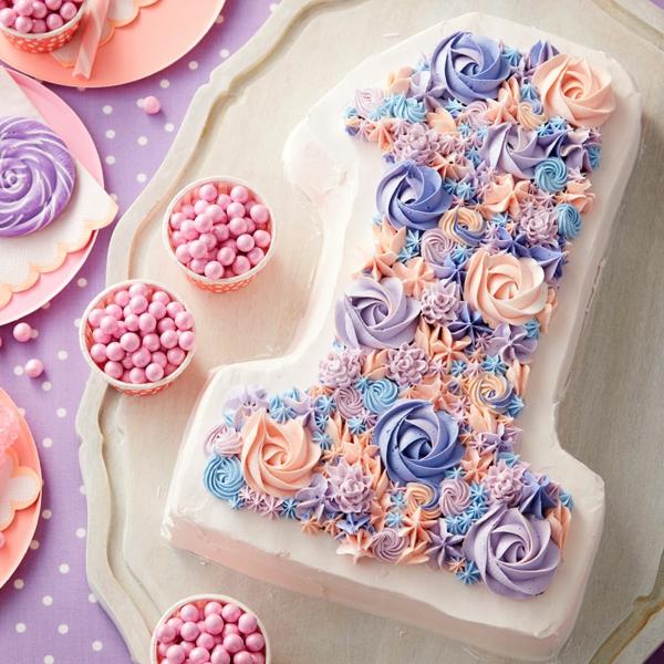 gâteau chiffre 1 anniversaire crème au beurre