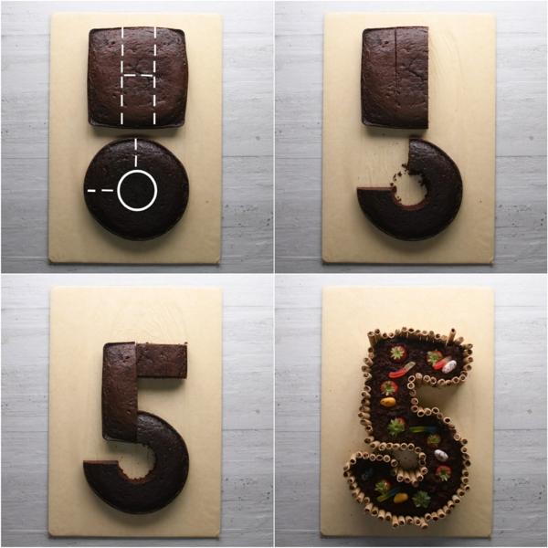 gâteau chiffre 5 technique coupe