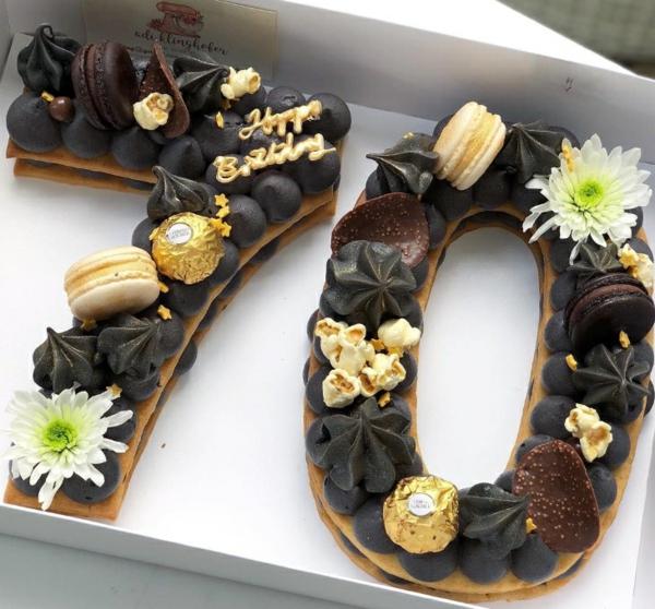 gâteau chiffre anniversaire crème noire