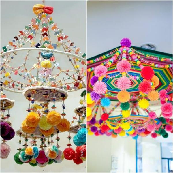 idée déco plafond diy suspension papier pompons