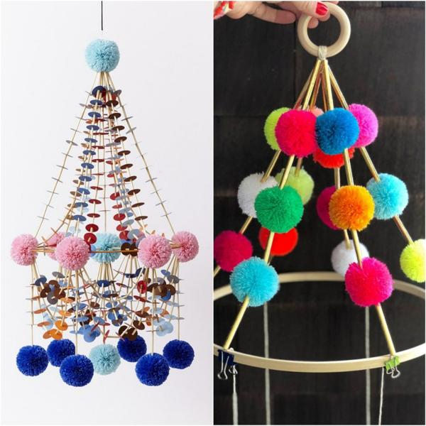 idée déco plafond fabriquer suspension papier pompons
