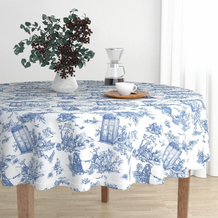nappe de table en toile de jouy bleu