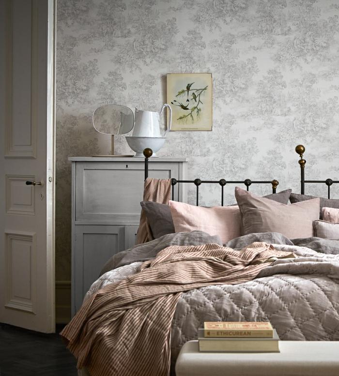 pepier peint chambre en toile de jouy 2