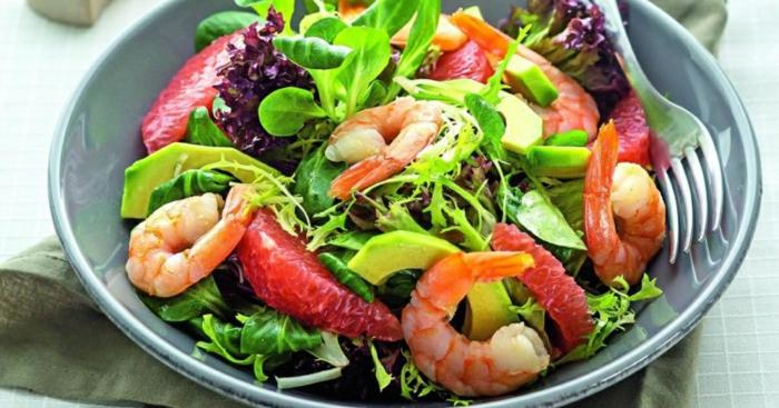 recette salade de crevettes au pamplemousse et avocat