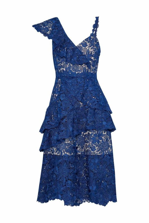 robe invitée mariage tendances 2019 dentelle volants double épaisseur bretelles bleu foncé
