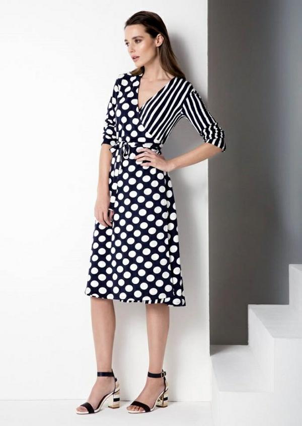robe invitée mariage tendances 2019 imprimé rayures decolleté coeur