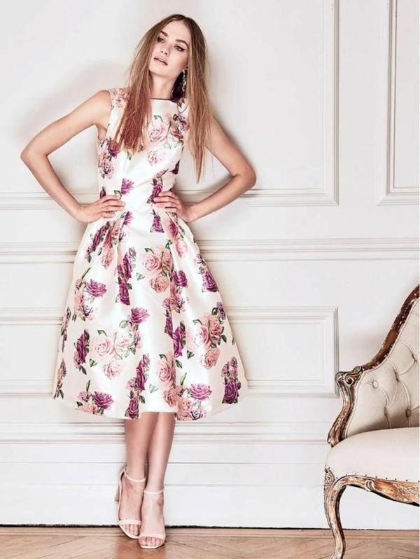 robe invitée mariage tendances 2019 jupe trapèze d'inspiration rétro motifs floraux