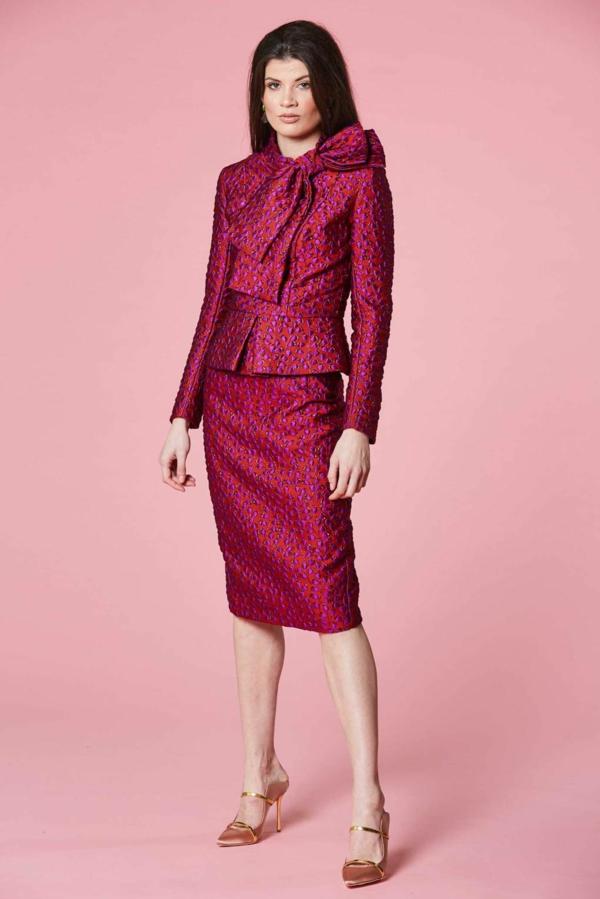 robe invitée mariage tendances 2019 robe épurée avec veste élément noeud