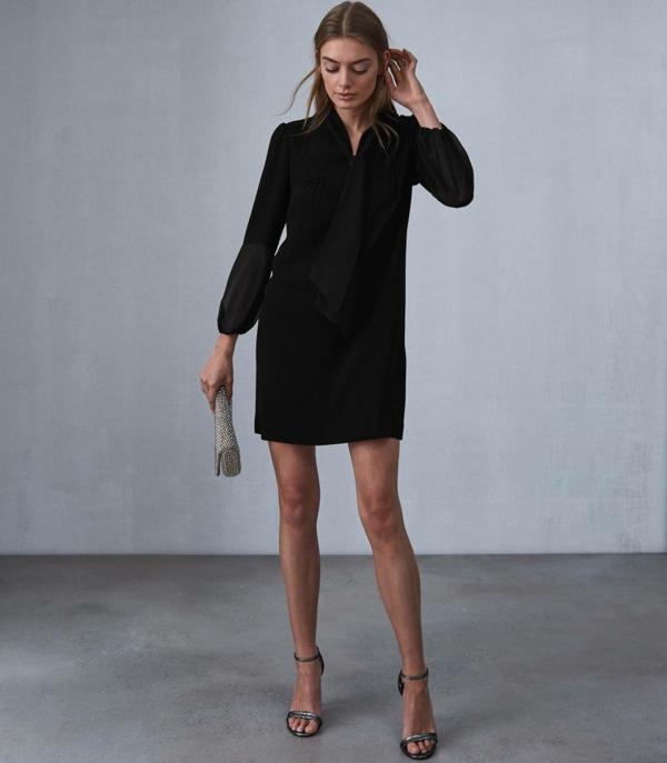 robe invitée mariage tendances 2019 robe chemise courte noire manches longues