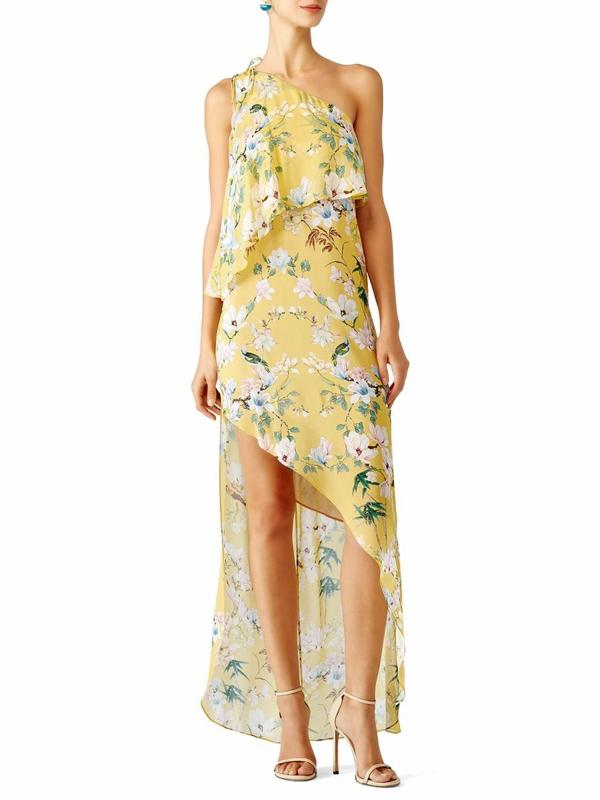 robe invitée mariage tendances 2019 robe d'été ourlet haut-bas imprimé floral coupe asymétrique
