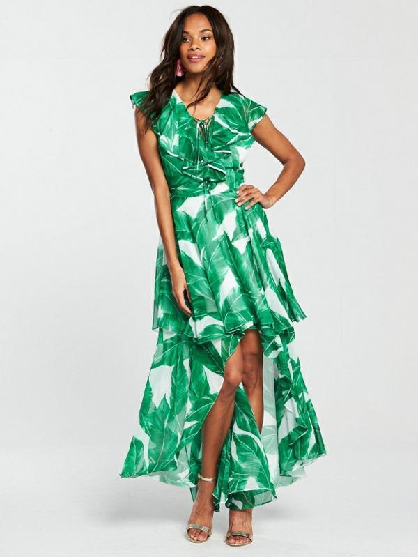 robe invitée mariage tendances 2019 robe féérique imprimé palmier decolleté coeur