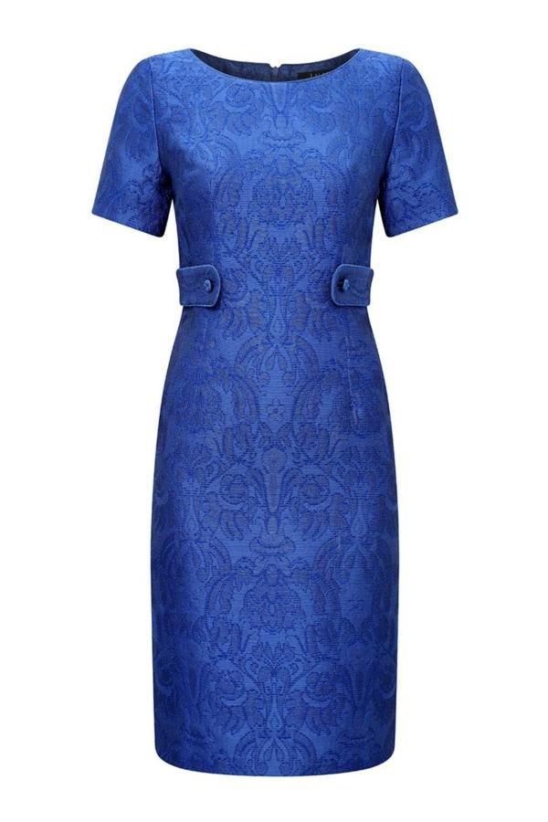 robe invitée mariage tendances 2019 robe formelle ceinturée manches courtes col rond bleu électrique