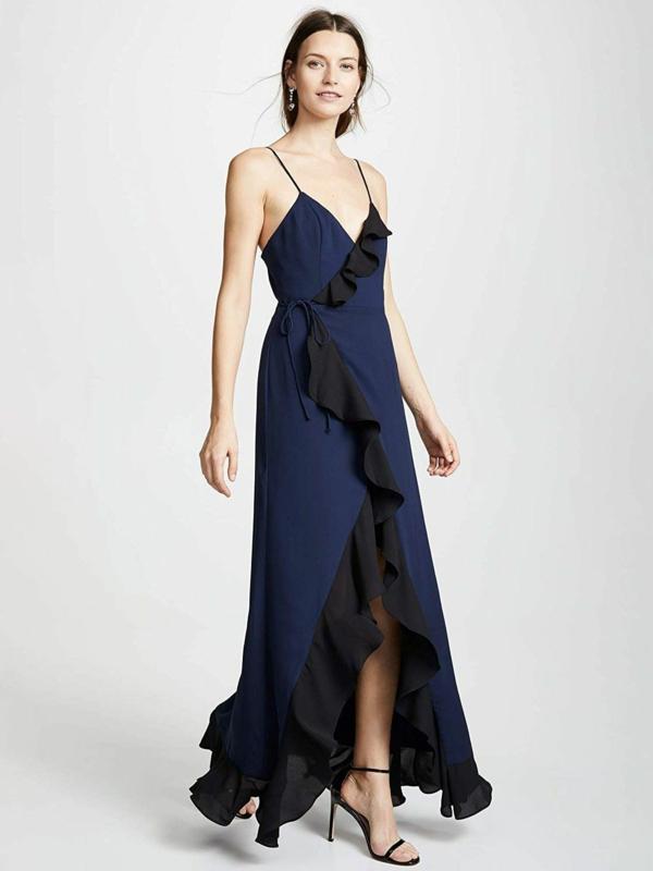 robe invitée mariage tendances 2019 robe longue couleur indigo à bretelles ourlet volanté