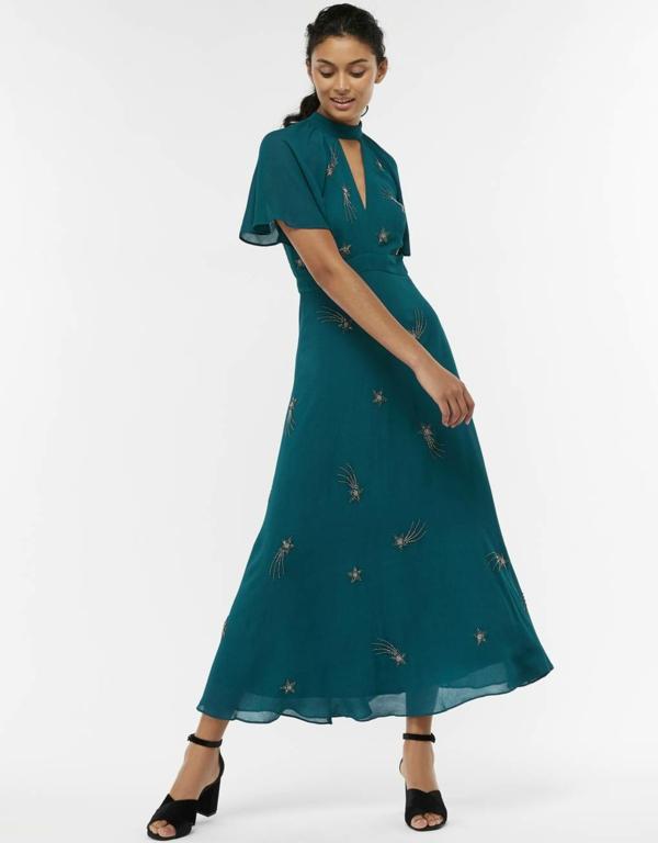 robe invitée mariage tendances 2019 robe longue féérique double épaisseur vert foncé manches courtes