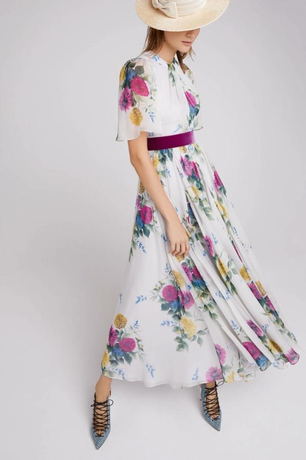 robe invitée mariage tendances 2019 robe longue florale ceinture ruban manches courtes