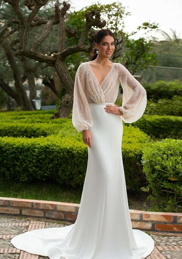 robe invitée mariage tendances 2019 robe longue jupe blanche top pailleté manches longues