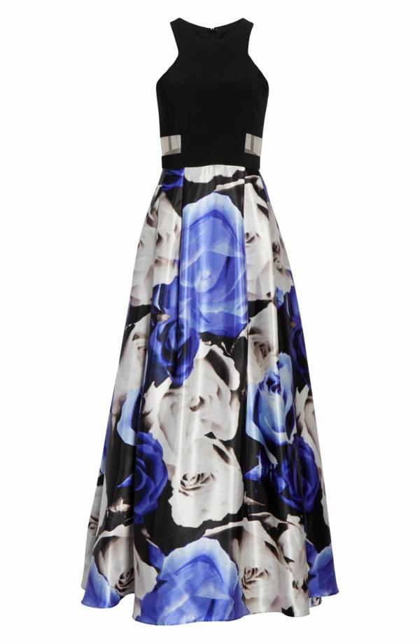 robe invitée mariage tendances 2019 robe longueur ras du sol top noir jupe à motif floral