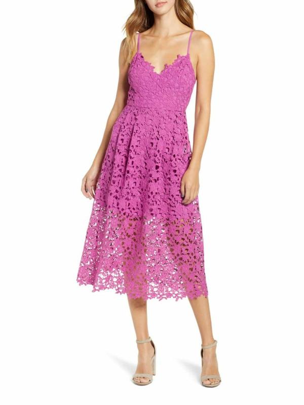 robe invitée mariage tendances 2019 robe néoprène fuschia à bretelles