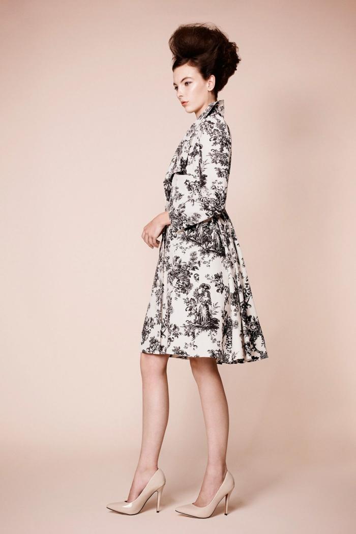 robe moderne en toile de jouy en noir