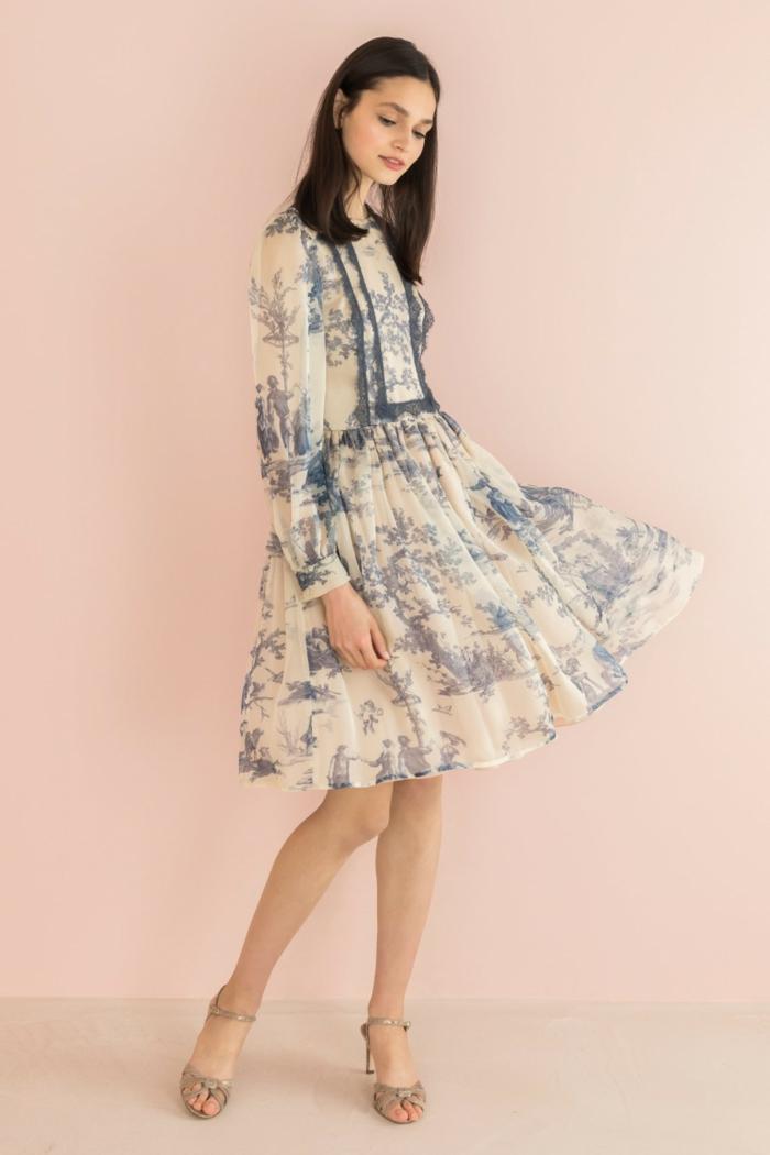 robe moderne en toile de jouy