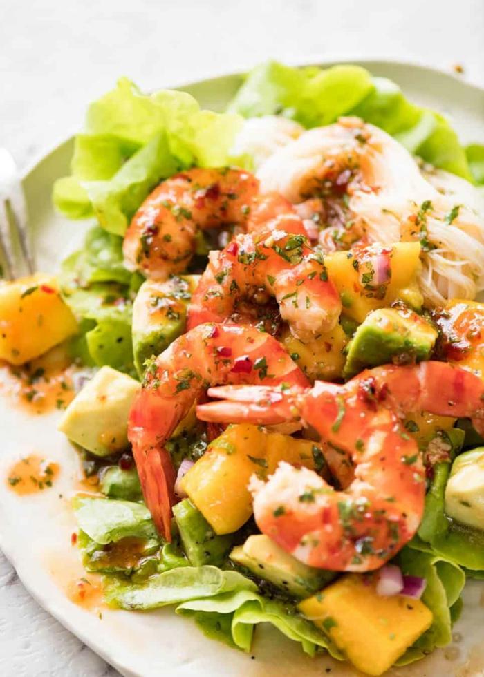 salade de crevettes au mangue et avocat