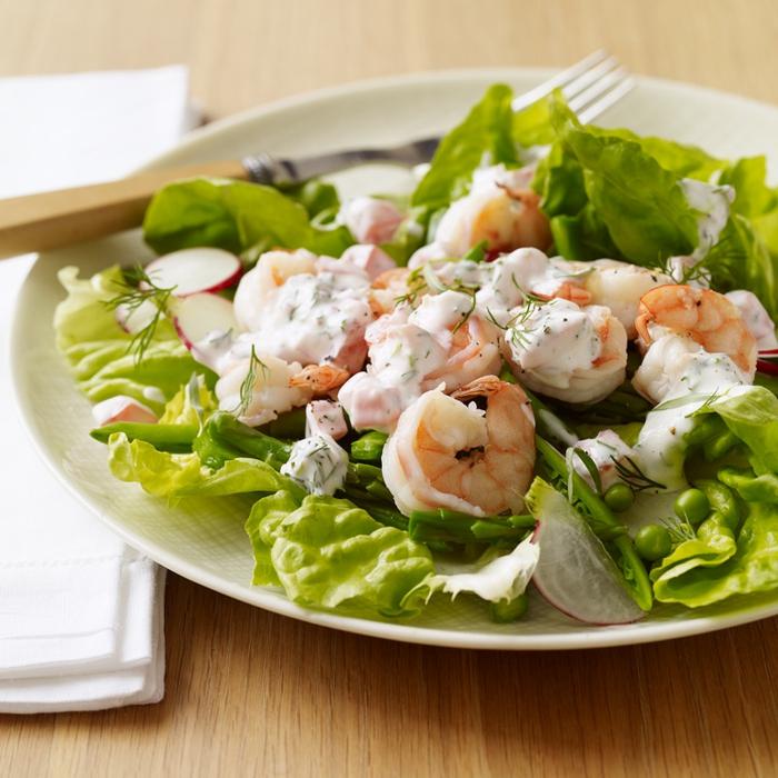 salade de crevettes et asperges