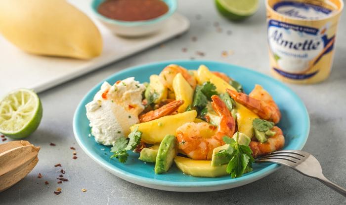 salade de crevettes et mangue