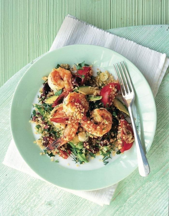 salade de crevettes, quinoa et avocat