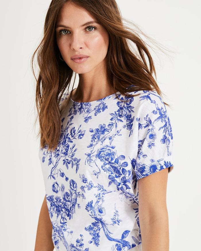 t-shirt en toile de jouy en bleu