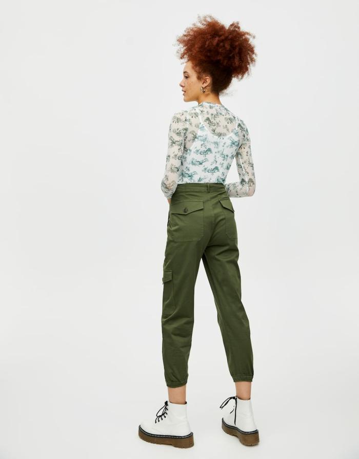 t-shirt en toile de jouy vert