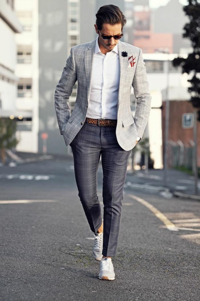 tenue avec baskets blanches idée tenue mariage homme