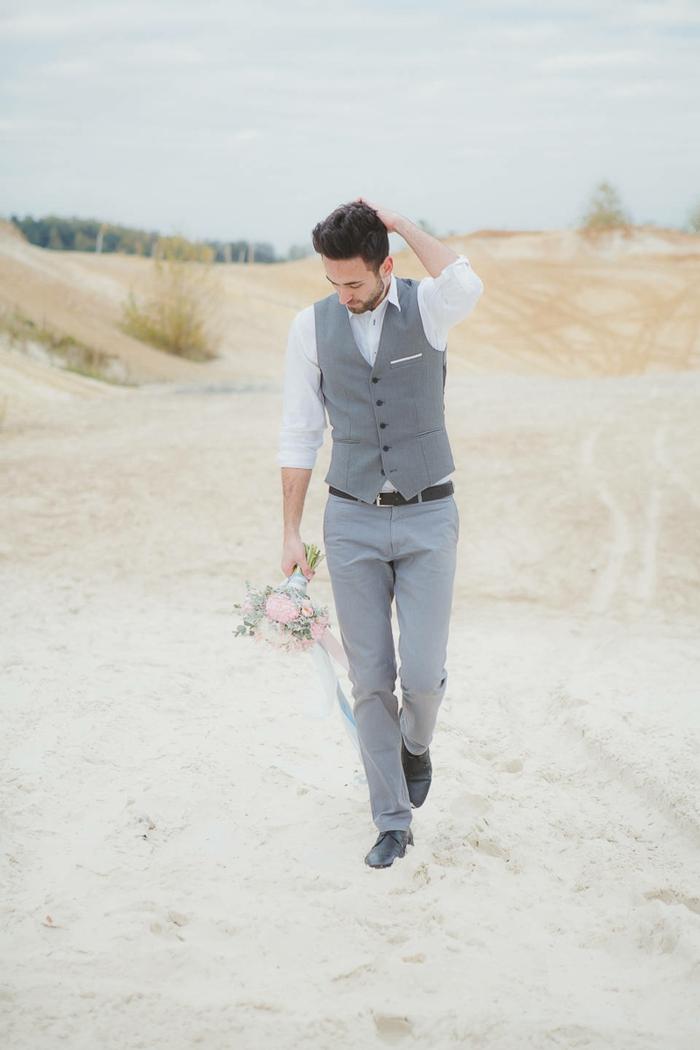 tenue mariage homme gilet gris